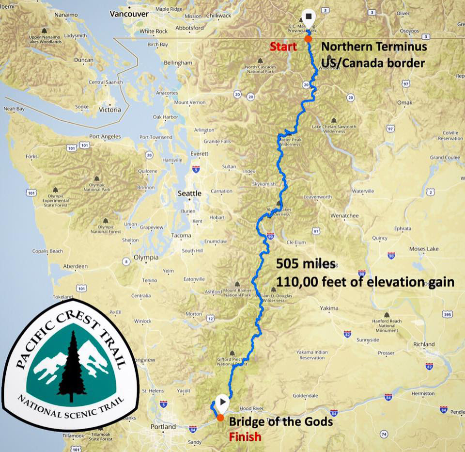 parcours du défi de François d'Haene sur le Pacific Crest Trail